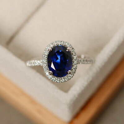 14K White Gold Finish 2Ct Oval Cut Blue Sapphire Brilliant Halo Engagement Ring ()