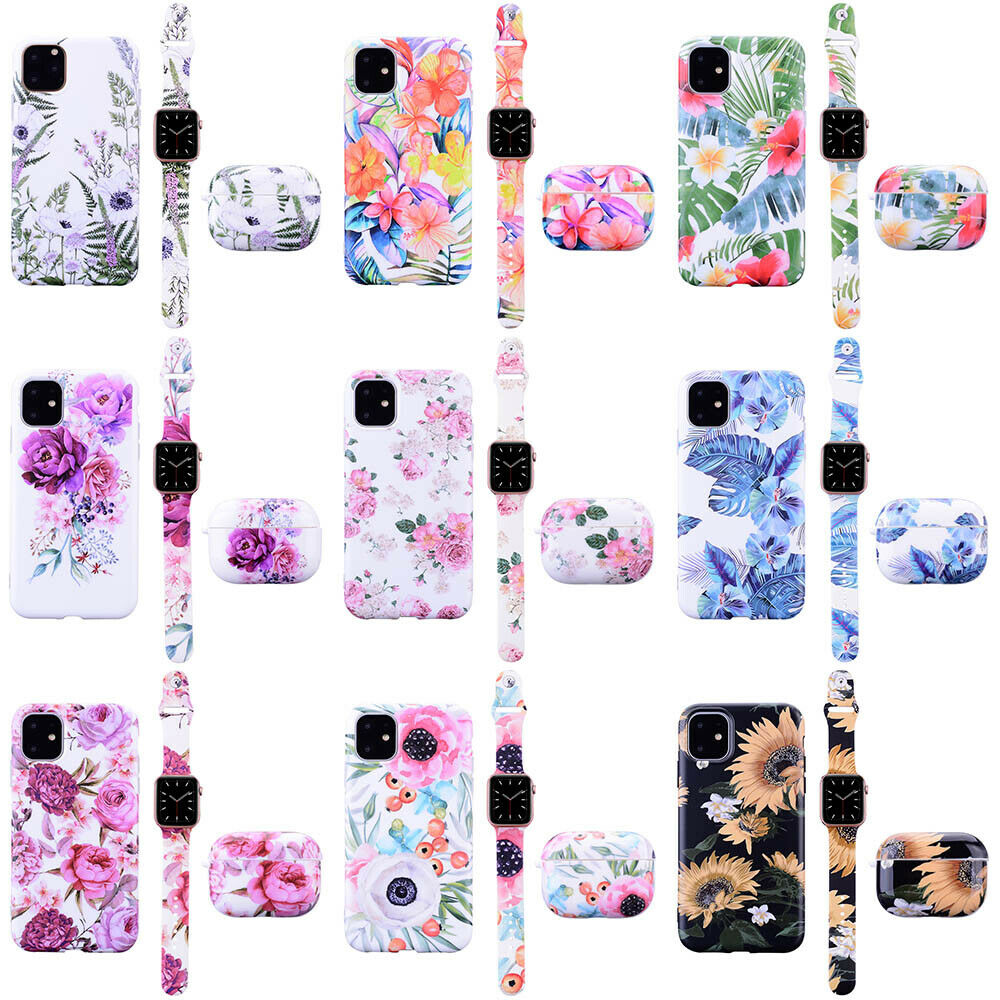 Flower Silicone Sport Band TPU Case Cover For Apple Watch Ai