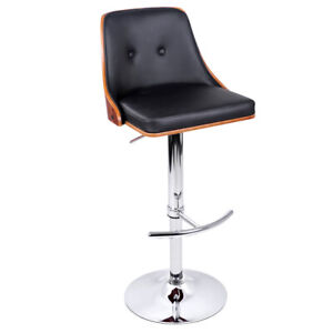 PU Leather Wooden Kitchen Bar Stool Dining Chair Seat Barstool Black