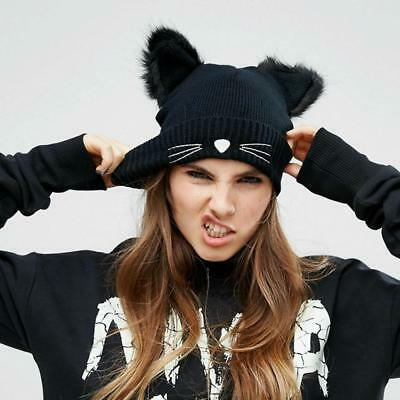 Women Hat Elastic Faux Cotton Winter Insulated Beanie With Cat Ears And Whiskers](Cat Ears And Whiskers)