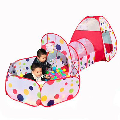 Portable Pop Up 3pcs Childrens Baby Play Tent And Tunnel Ball Pit Playhouse