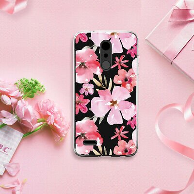 For LG K30/Premier Pro Cherry Blossom TPU Phone Case Cover+Black Tempered -