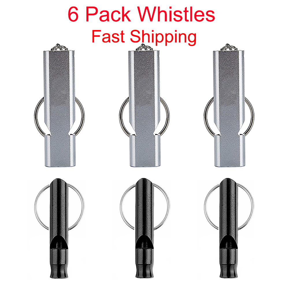 6 Pack Survival Whistle Outdoor Camping Emergency Tool with