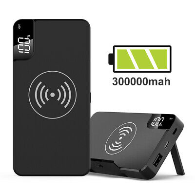 Power Bank 300000mAh Qi Wireless Charging USB LCD Portable Battery Charger Pack