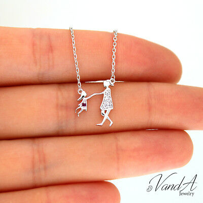 Sterling silver playing Mother & Daughter Necklace Pendant Family Necklace -