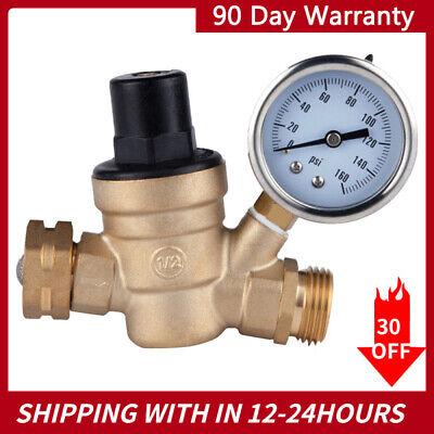 3 4 Rv Water Pressure Regulator Lead-free Brass Adjustable Reducer And Gauge