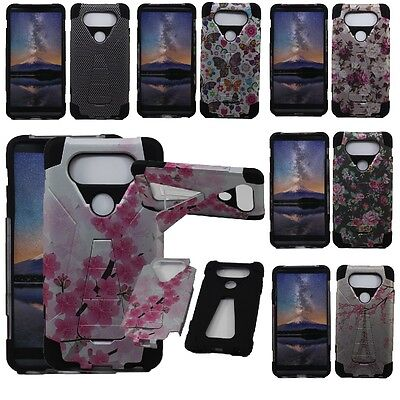 For LG V20 Hybrid Armor Hard Cell Phone Case+Soft Silicone Skin Cover Kickstand Cell Phone Hard Skin
