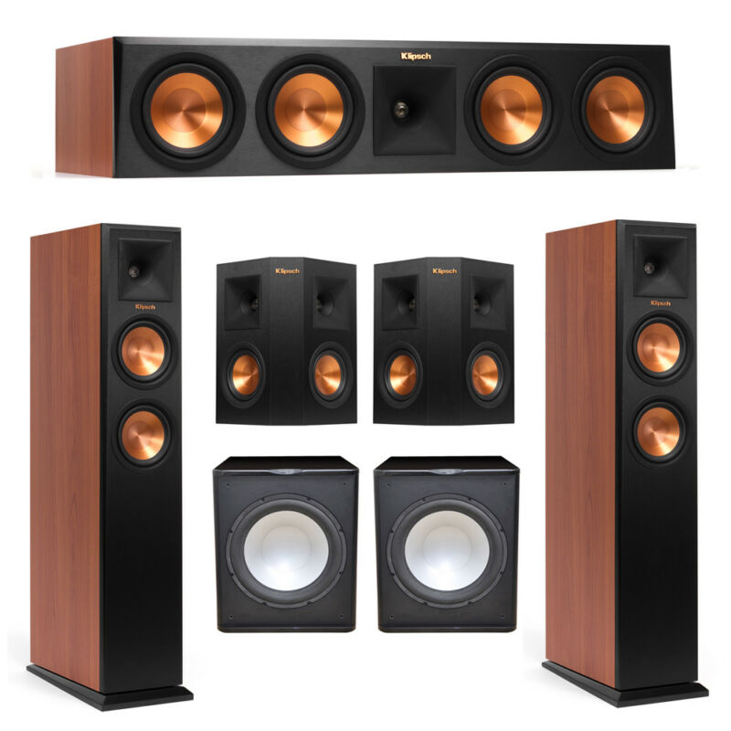 Klipsch 5.2 Cherry System With 2 Rp-250f Tower Speakers, 1 Rp-450c Center Speake