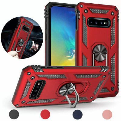 For Samsung Galaxy S10/Plus/S10e Magnetic Support Metal Ring Defender Case Cover ()