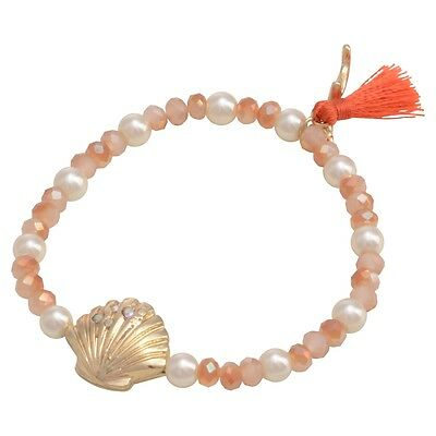 Gold Scallop Shell Bracelet - Peach Bead Scallop Seashell Shell Gold Coral Beach Seaside Stretch Bracelet