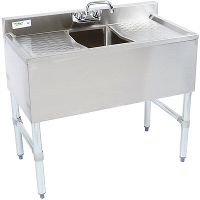 36 Nsf Stainless Steel Underbar Sink With Faucet And 2 Drainboards