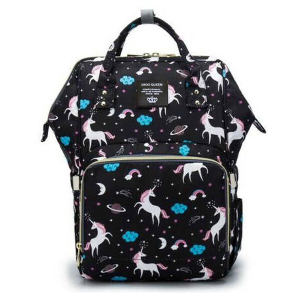 Ergo Diaper Bag Backpack Mummy Maternity Nappy Large Capacity Baby Bag Travel  Black Unicorn