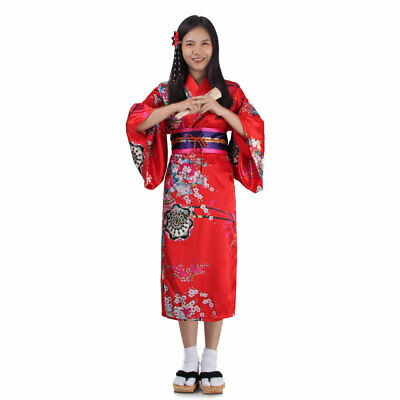 Mädchen Kinder Kostüm Geisha Kimono Japanerin Samurai Yukata Kleid (Geisha Samurai Kostüm)