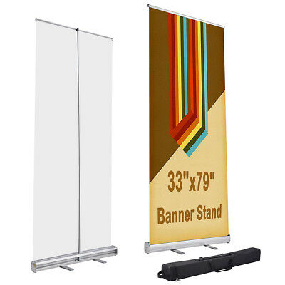 33 X 79 Aluminum Retractable Roll Up Banner Stand Trade Show Display With Bag