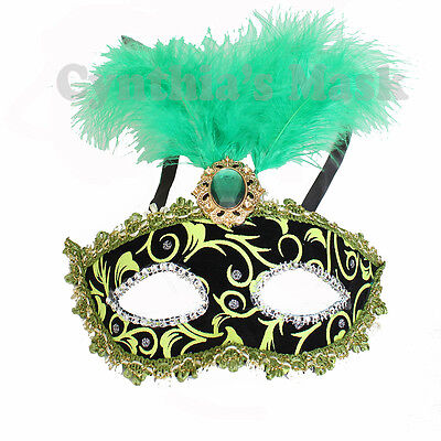 Black And Green Masquerade Mask (Green and Black Venetian Masquerade Mask w/Feathers Party Prom Mardi Gras)