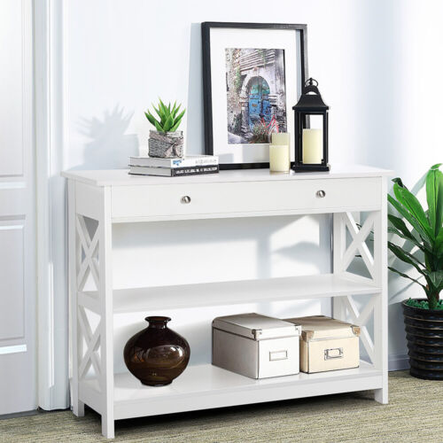 Sofa Side Console Table with Drawer and 2 Storage Shelves Na