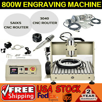 3040 5axis Cnc Router Engraving 0.8kw Spindle Motor Woodworking Engraver Mill
