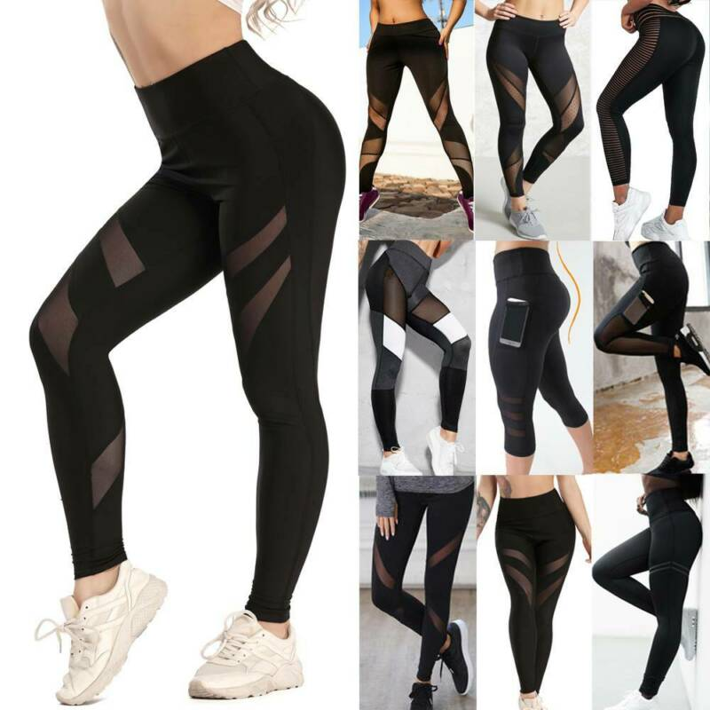 Women High Waist Leggings Push Up Workout Mesh Breathable Fitness Yoga Pants