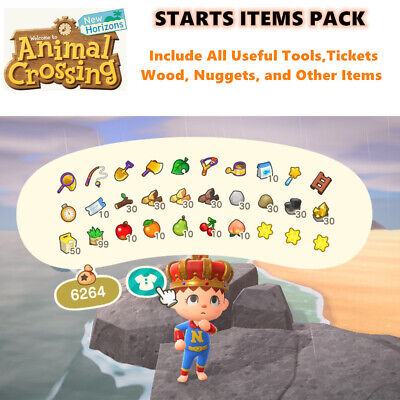 Animal Crossing New Horizons STARTS ITEMS PACK - Include Iron Golden Tools Etc..