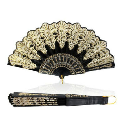 Spanish Style Lace Silk Folding Hand Held Dance Flower Fan Dance Party - Silk Wedding Hand Fan