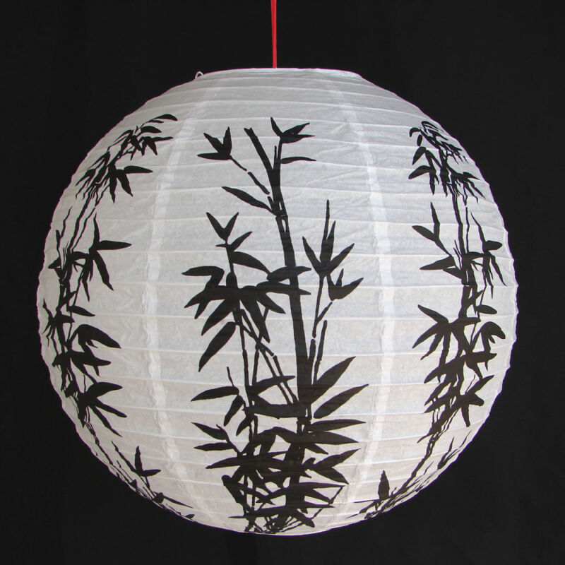 """2 of 12"""" Chinese White Paper Lanterns with Bamboo Pictures"""