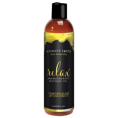 Intimate Earth Relax Aromatherapy Massage Oil - 4 oz Lemon Grass and Coconut (Coconut Massage Oil Sexual)