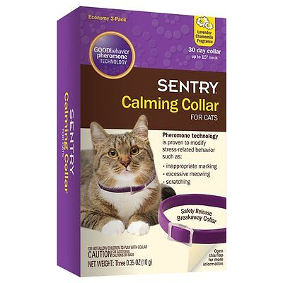 SENTRY Calming Collar for Cats , 3 Pack , New, Free Shipping