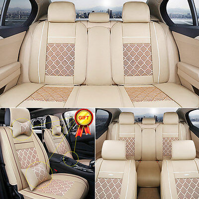 US 5-Seats Car Seat Cover PU Leather Ice Silk Needlework Front & Rear w/Pillows
