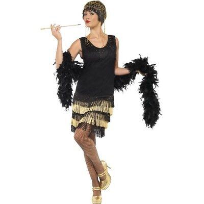 Smiffy's Erwachsene Frauen 1920 Fransen Flapper Kostüm, Kleid Mit Spitze Vorne (Frauen Flapper Kostüme)