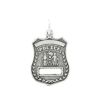STERLING SILVER POLICE BADGE CHARM OR PENDANT
