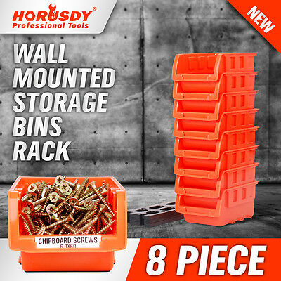 8 Bin Wall Mounted Parts Rack Stackable Bins Home Organize Tool Boxes Storage