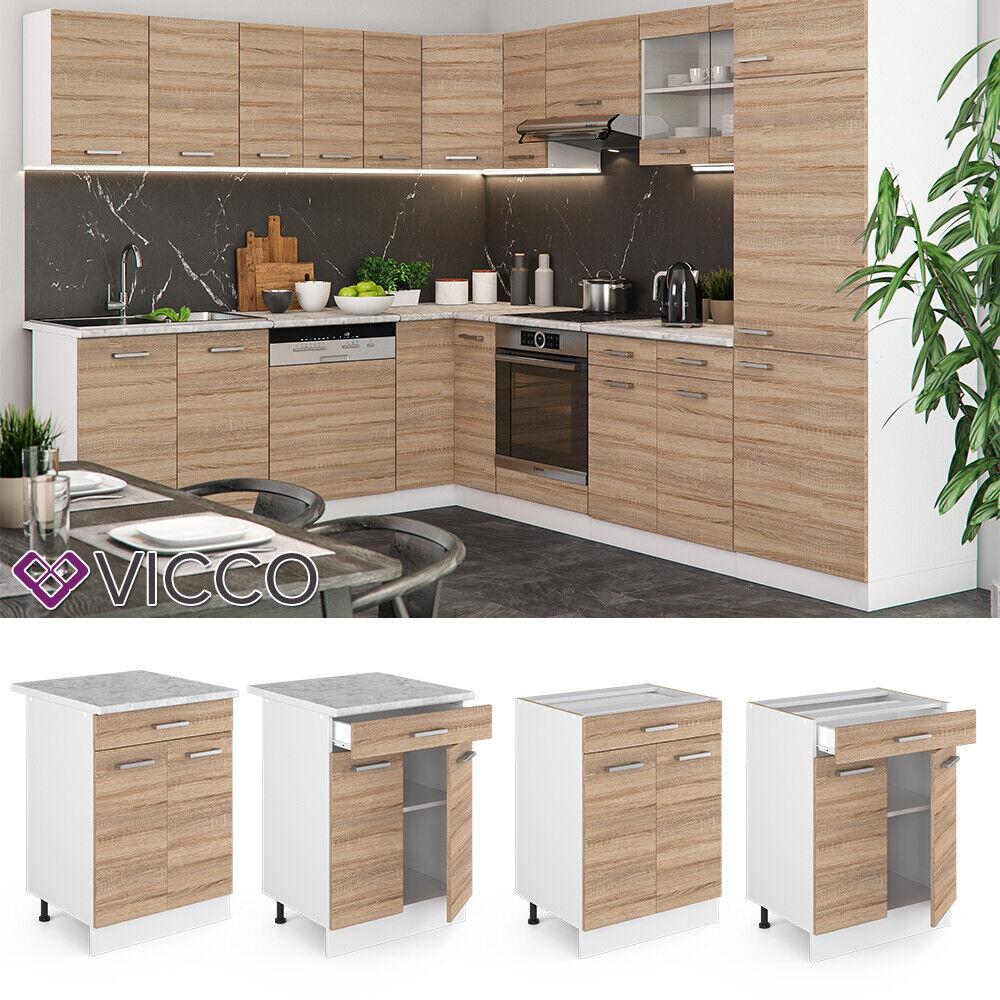 VICCO Küchenschrank Hängeschrank Unterschrank Küchenzeile R-Line Schubunterschrank 60 cm sonoma