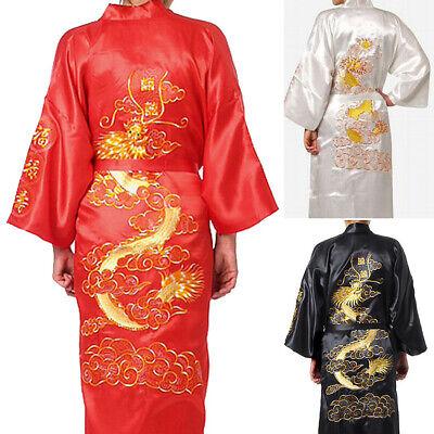 Chinese Dragon Face (Double-Face Chinese Men Silk Satin Men's Dragon Kimono Robe Gown Bathrobe)