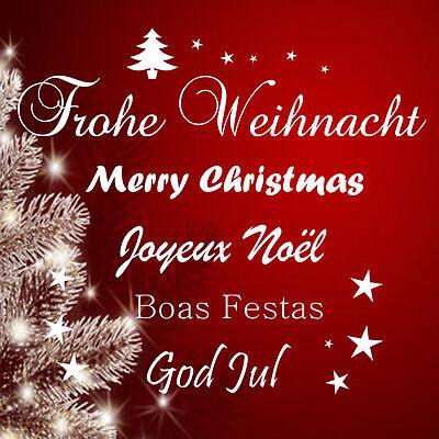 Frohe Weihnacht ver.Sprachen Wandtattoo Fenster/Schaufenster-Beschriftung Spuch