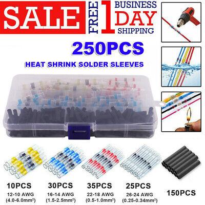 250x Solder Sleeve Heat Shrink Wire Butt Splice Connector Waterproof Terminal UK