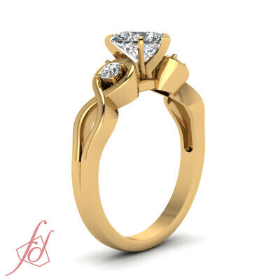 3 Stone Infinity Diamond Engagement Ring With Heart Shaped GIA Certified 0.65 Ct 2