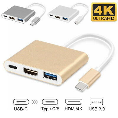 Type C USB 3.1 to USB-C 4K HDMI Adapter Cable 3 in 1 Hub For Samsung Note 9 8 S9