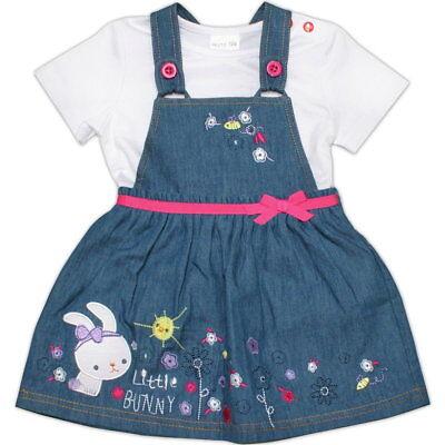 Baby Jeans Kleid und Shirt Mädchen-Set mit Stickerei 3-18 Monate Größe 62-80 Neu - Baby Kleid Set