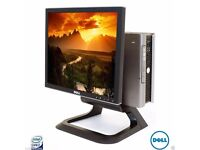 """X5 OFFICE SETUP COMPLETE CORE2DUO PC 4GB RAM 160GB HDD 17"""" SCREEN DELL SYSTEM"""