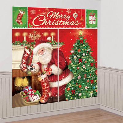 Magical Christmas Szene Party Wand Dekoration Hintergrund Weihnachtsmann Plakat ()