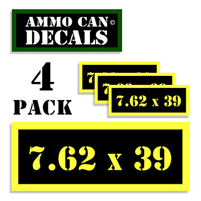 7.62 X 39 Ammo Can Label 4x Ammunition Case stickers decals 4 pack YW MINI 1.5in