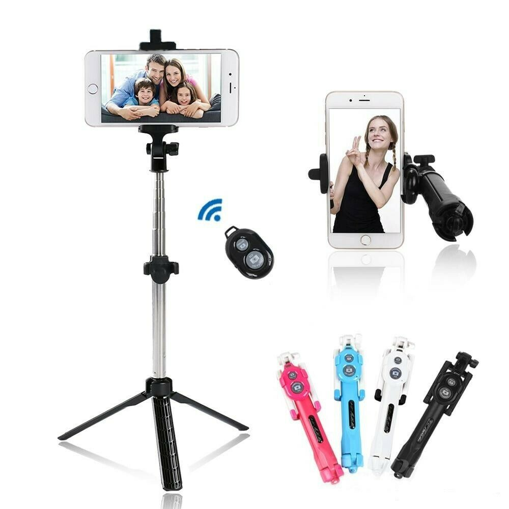 Black Extendable Selfie Stick Tripod Remote Bluetooth Shutte