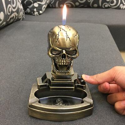 Novelty Skull Shape Cigarette cigar Ashtray Ash Tray with Refillable lighter Novelty Cigarette Lighter