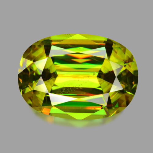 2.51cts GORGEOUS MASTER OVAL CUT NATURAL MADAGASCAR GREEN SPHENE WATCH VIDEO