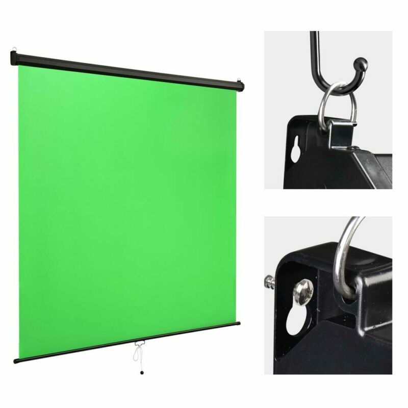 Retractable Pull Down Green Screen Backdrop Chromakey Wall Ceiling Mountable