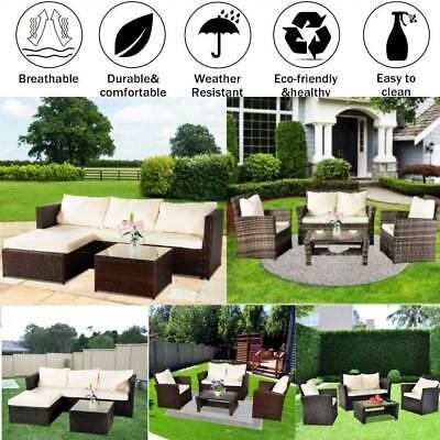 Garden Furniture - Rattan Garden Corner Sofa Table Chair Furniture Set Grey Brown Black Gray Patio