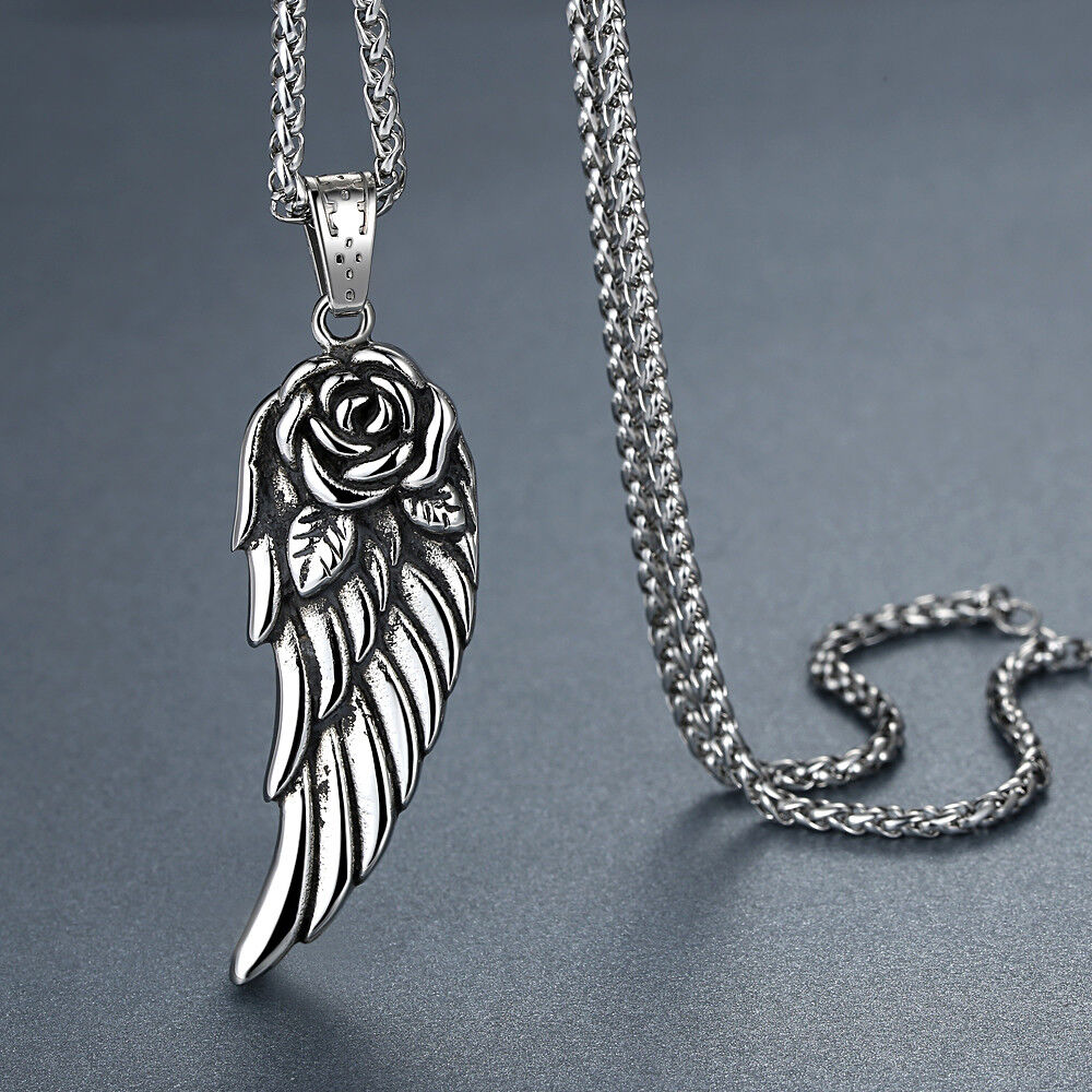 Men's Stainless Steel Rose Angel Wing Pendant Necklace Chains, Necklaces & Pendants