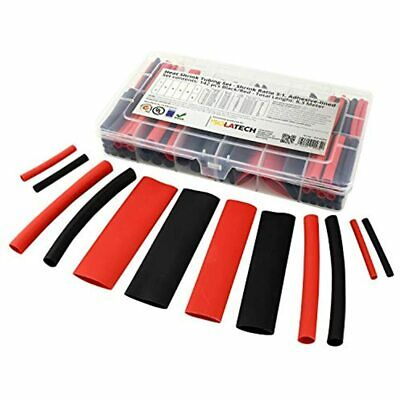 Heat Shrink Tubing Kit 31 Adhesive Lined 142 Pcs. Set Mix Red And Black. For 27