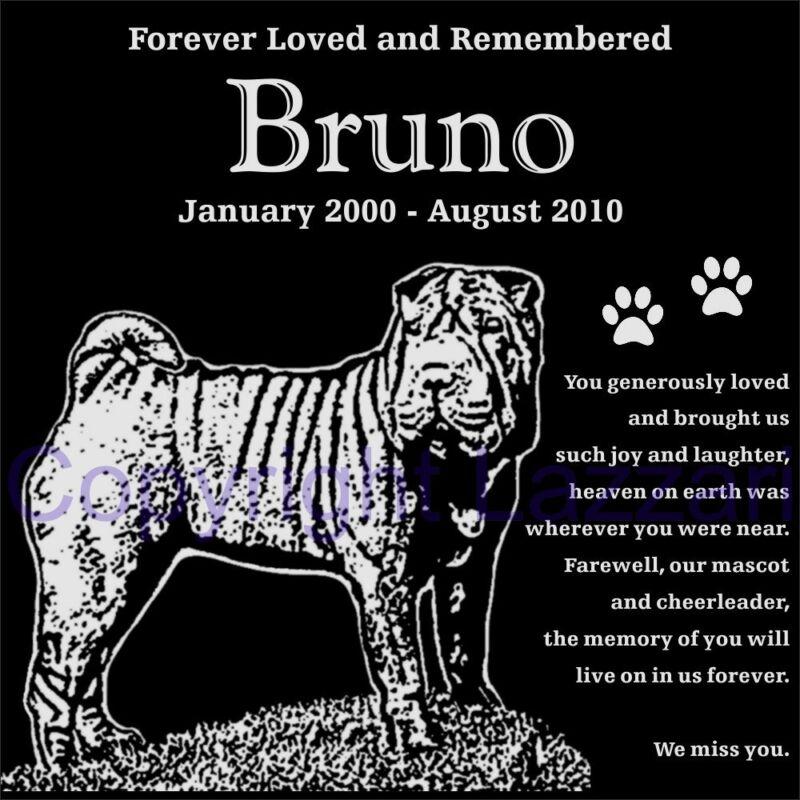 "Personalized Shar Pei Pet Dog Memorial 12""x12"" Engraved Granite Grave Marker"