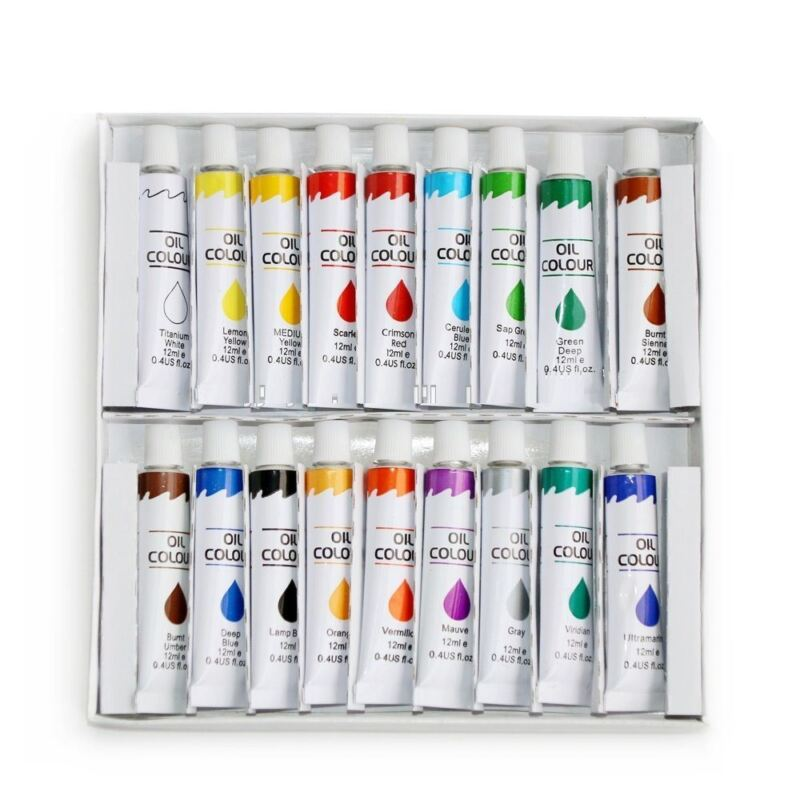 New Oil Paint 18 PC Set Professional Student Artist 12ml Tubes Vibrant Colors
